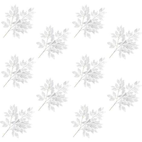 vidaXL Hojas artificiales de ficus 10 unidades plateado 65 cm - Plateado