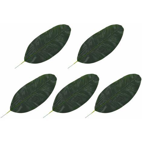 vidaXL Hojas artificiales de platanero 5 unidades verde 50 cm - Verde