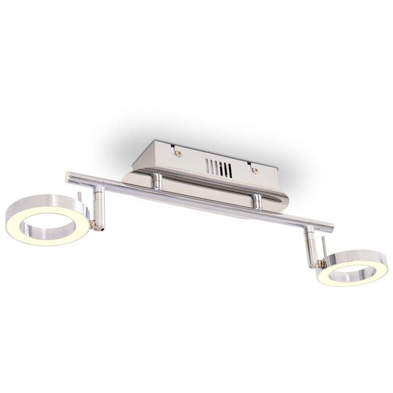 Illuminazione LED a Parete/da Soffitto con 2 Luci Bianco Caldo - Argento - Vidaxl