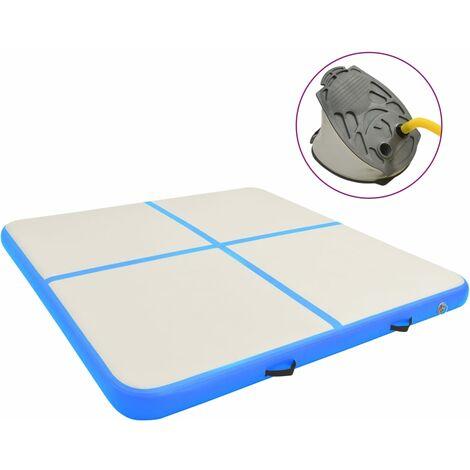 vidaXL Inflatable Gymnastics Mat with Pump 200x200x15 cm PVC Blue - Blue