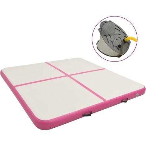 vidaXL Inflatable Gymnastics Mat with Pump 200x200x15 cm PVC Pink - Pink