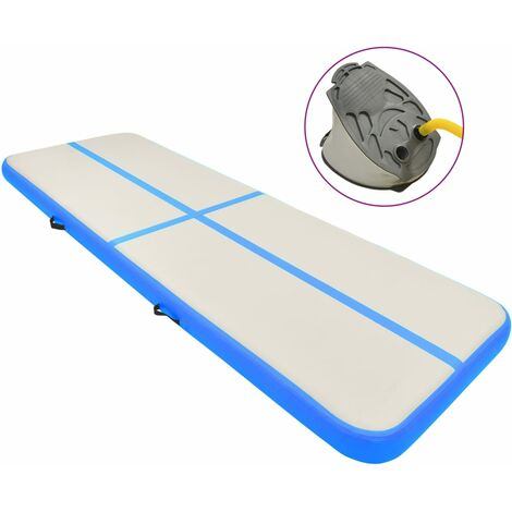 vidaXL Inflatable Gymnastics Mat with Pump 300x100x15 cm PVC Blue - Blue