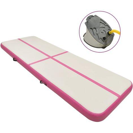 vidaXL Inflatable Gymnastics Mat with Pump 300x100x15 cm PVC Pink - Pink