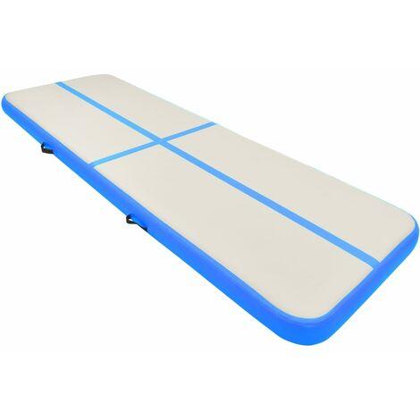 vidaXL Inflatable Gymnastics Mat with Pump 300x100x20 cm PVC Blue - Blue