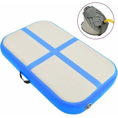 vidaXL Inflatable Gymnastics Mat with Pump 60x100x10 cm PVC Blue - Blue