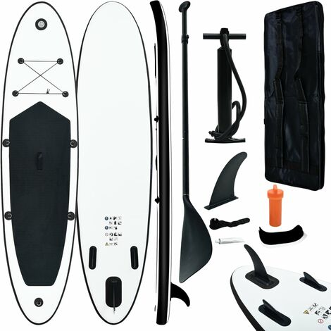 """main image of """"vidaXL Inflatable Stand Up Paddleboard Set Black and White - Black"""""""
