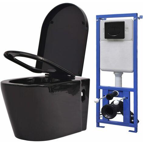 vidaXL Inodoro de pared con cisterna oculta cerámica negro - Negro