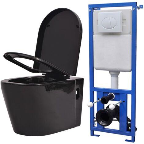 vidaXL Inodoro de Pared con Cisterna Oculta Váter Colgado en el Muro WC Elementos de Aseo Cuarto de Baño Retrete de Cerámica Blanco/Negro