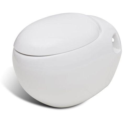 vidaXL Inodoro de Pared Diseño de Huevo Cerámica WC Retrete Váter Blanco/Negro