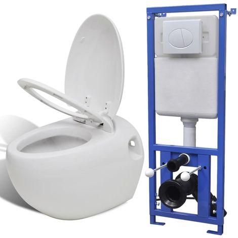 vidaXL Inodoro suspendido a la pared con cisterna oculta blanca