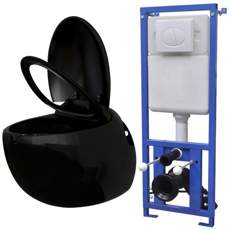 vidaXL Inodoro suspendido a la pared con cisterna oculta negro