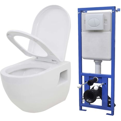 vidaXL Inodoro suspendido de pared con cisterna oculta cerámica blanco - Blanco