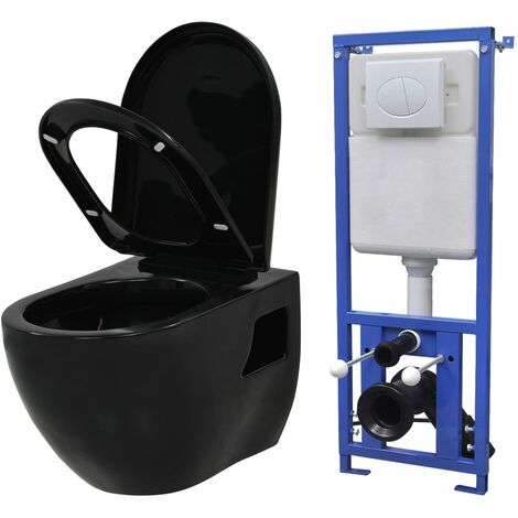 vidaXL Inodoro suspendido de pared con cisterna oculta cerámica negro - Negro