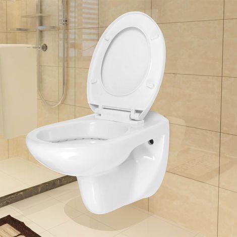 vidaXL Inodoro WC de montaje en pared con cierre suave ceramica blanco (no se puede enviar a Baleares)