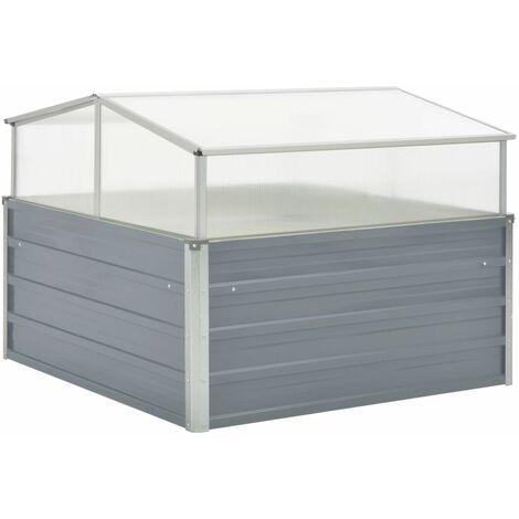 vidaXL Invernadero 100x100x85 cm acero galvanizado gris - Gris