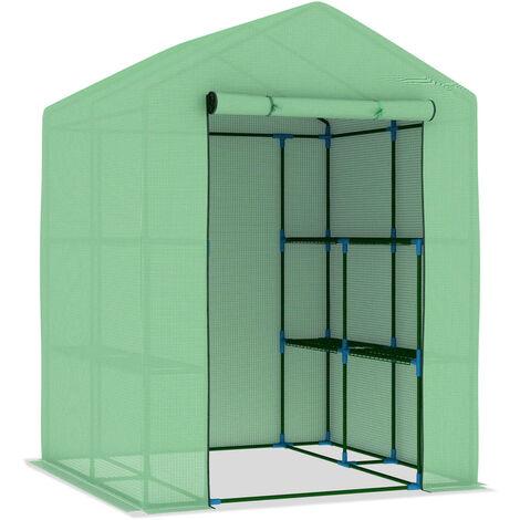 vidaXL Invernadero con estantes acero 143x143x195 cm - Verde