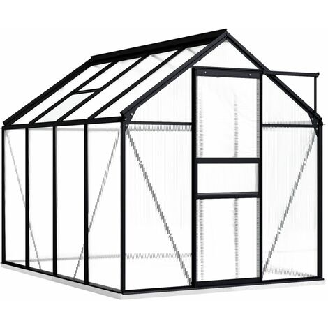 vidaXL Invernadero con marco aluminio gris antracita 4,75 m² - Antracita