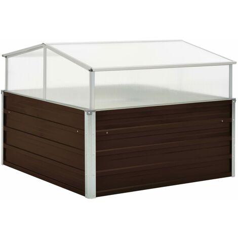 vidaXL Invernadero de acero galvanizado marrón 100x100x85 cm - Transparente