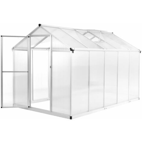 vidaXL Invernadero de aluminio 302x190x195 cm 11,19 m³ - Transparente