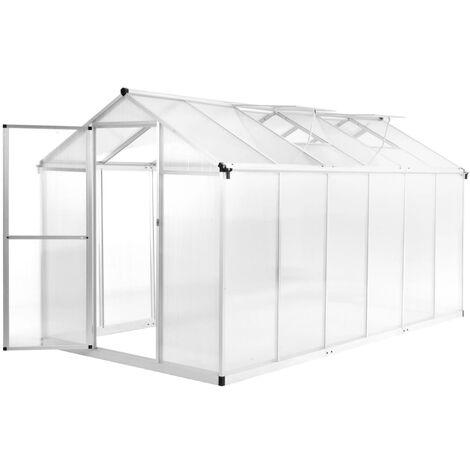 vidaXL Invernadero de aluminio 362x190x195 cm 13,41 m³ - Transparente