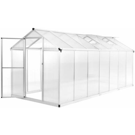 vidaXL Invernadero de aluminio 421x190x195 cm 15,6 m³ - Transparente