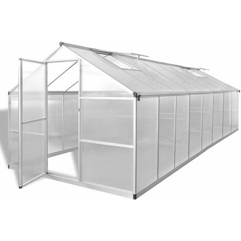 vidaXL Invernadero de aluminio 481x250x195 cm 23,44 m³ - Transparente