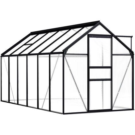 vidaXL Invernadero de aluminio gris antracita 7,03 m² - Antracita