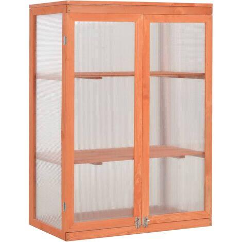 vidaXL Invernadero de madera 75x47x109 cm - Marrón