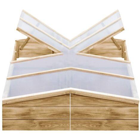 vidaXL Invernadero de madera de pino impregnada 2 uds 200x50x35 cm - Verde