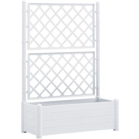 vidaXL Jardinera con enrejado PP blanca 100x43x142 cm - Blanco