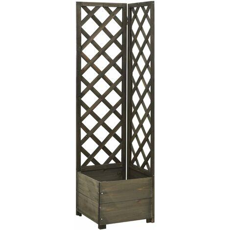 vidaXL Jardinera de enrejado de esquina madera abeto gris 40x40x150 cm - Gris