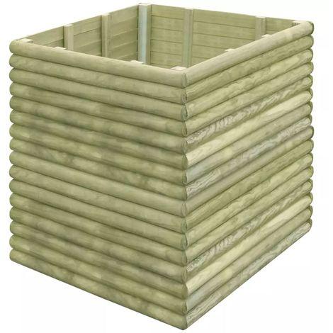 vidaXL Jardinera de madera de pino impregnada FSC 106x106x96 cm