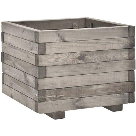 vidaXL Jardinera de madera de pino maciza 50x50x40 cm - Gris