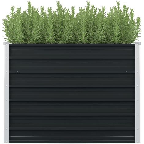 vidaXL Jardinera elevada acero galvanizado gris antracita 100x100x77cm - Antracita