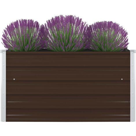 vidaXL Jardinera elevada de acero galvanizado marrón 100x100x45 cm - Marrón