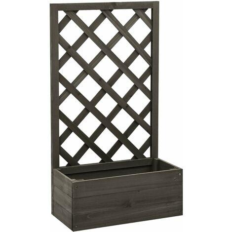 vidaXL Jardinera enrejada de jardín madera abeto gris 50x25x90 cm - Gris