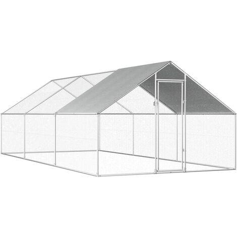 """main image of """"vidaXL Jaula gallinero de exterior de acero galvanizado 2,75x6x1,92 m - Plateado"""""""