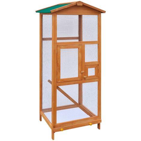 vidaXL Jaula para pájaros de madera 65x63x165 cm - Marrone