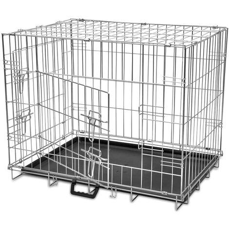 vidaXL Jaula para perros plegable de metal L - Negro