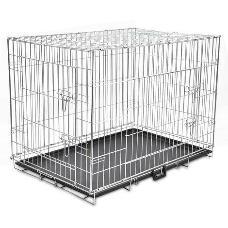 vidaXL Jaula para perros plegable de metal XL - Negro