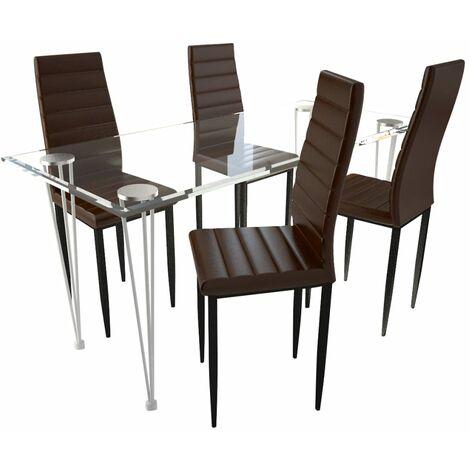 vidaXL Juego de Comedor Mobiliario Muebles Hogar Cocina Terraza Silla Mesa Asiento Suave Decoración Respaldo de Vidrio Transparente Negras Multimodelo