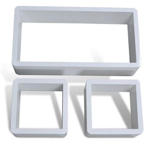vidaXL Juego de estantes en forma de cubo 3 piezas - Bianco