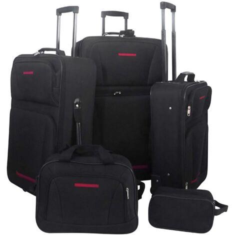 vidaXL Juego de maletas de viaje 5 piezas negro - Negro