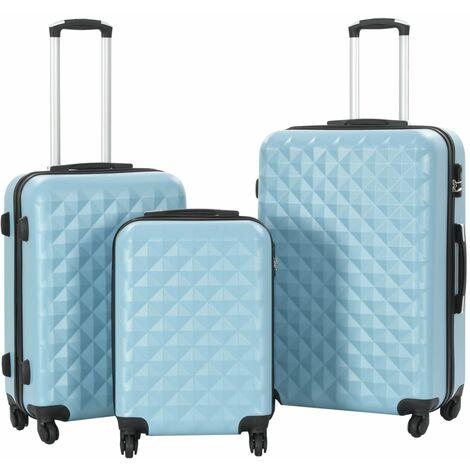 vidaXL Juego de maletas rígidas con ruedas trolley 3 piezas azul ABS - Azul