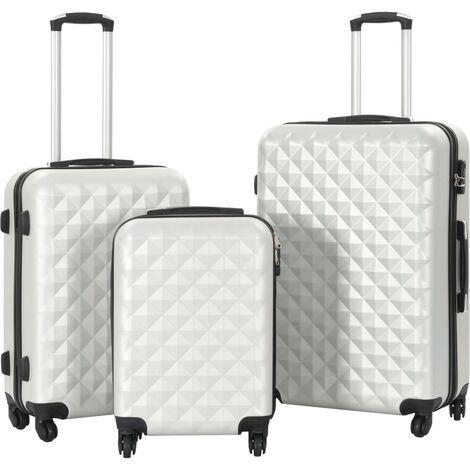 vidaXL Juego de maletas rígidas trolley 3 pzas plateado brillante ABS - Plateado