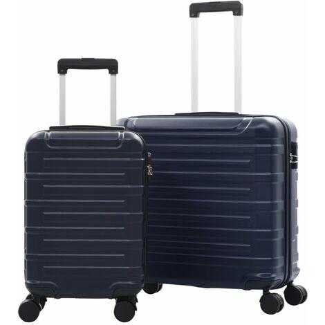 vidaXL Juego de maletas trolley rígidas 2 piezas azul marino ABS - Azul