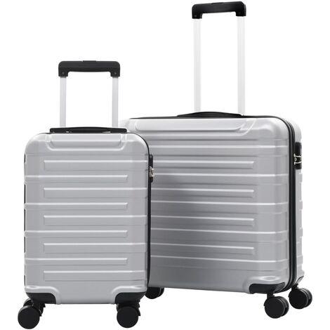 vidaXL Juego de maletas trolley rígidas 2 piezas plateado ABS - Plateado