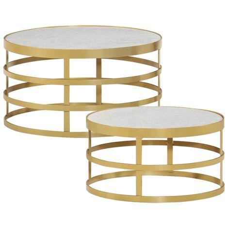 vidaXL Juego de mesas de centro 2 piezas mármol color blanco y latón - Blanco