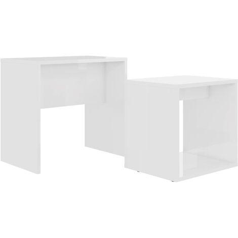 vidaXL Juego de mesas de centro aglomerado blanco 48x30x45 cm - Blanco