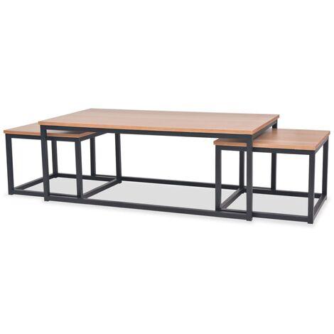 vidaXL Juego de mesas de centro de madera de fresno 3 piezas - Marrón